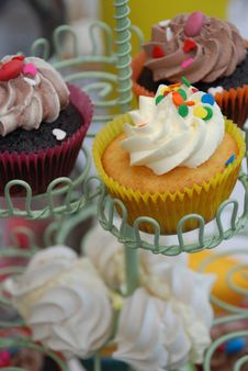 Free Chocolate Cupcakes Icing With Confetti Stock Image - 15351851