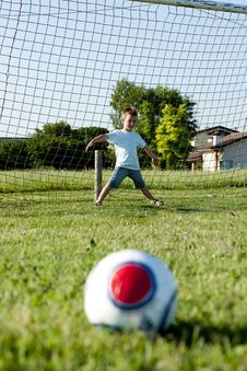 Free Little Goalkeeper In Action Stock Photos - 15352333