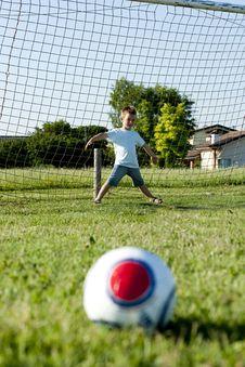 Little Goalkeeper In Action Stock Photos