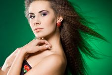 Free Beautiful Woman On Green Royalty Free Stock Photo - 15352735