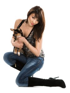 Free Woman With Little Dog Stock Image - 15352801