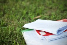 Free Notebooks On Grass Stock Photos - 15353203