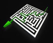 Maze With Green Arrow Stock Image