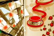 Stethoscope And Molecules Stock Photos