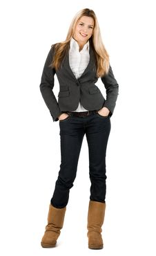 Businesswoman In Grey Suit Royalty Free Stock Image