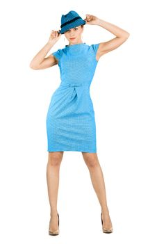 Businesswoman In Blue Dress Stock Image