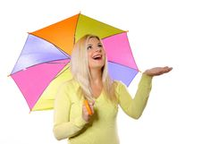 Free Portrait Of Pretty Autumn Woman Under Umbrella Royalty Free Stock Photos - 15354298