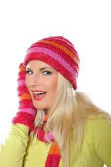Free Pretty Funny Winter Woman In Hat And Gloves Stock Images - 15354324