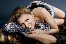 Girl With Black Fur Royalty Free Stock Photography