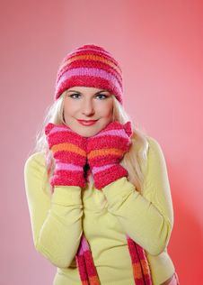 Free Pretty Funny Winter Woman In Hat And Gloves Stock Photo - 15354430