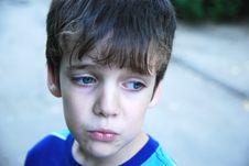 Free Sad 7 Years Old Boy Portrait. Stock Images - 15354664