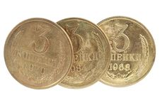Free Three Copper Russian Coins Stock Photos - 15354693