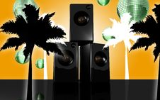 Floral Disco Speaker Orange Stock Photos