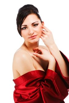 Free Sensuality Young Woman In Red Gown Stock Photography - 15362172