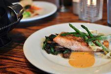 Plate Of Salmon With Asparagus Stock Photos