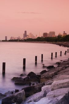 Free Sunset In Chicago Royalty Free Stock Images - 15363559