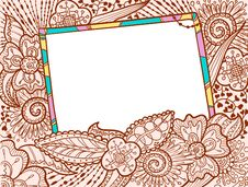 Free Doodle Color Frame Decorate By Floral Ornament Royalty Free Stock Images - 15363569