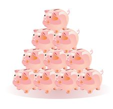 Pyramid Scheme With The Piggies Stock Image