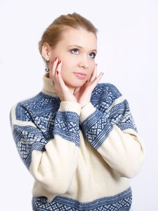 Winter Fashion Portrait Of The Beautiful Girl Stock Photography
