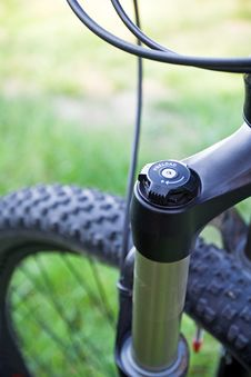 Mountain Bike Shock Detail Stock Image