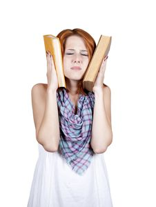 Free Young Student With Two Book And Headache. Royalty Free Stock Images - 15365169