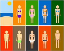 Free Set Of Beach Women Symbols Stock Photos - 15365223