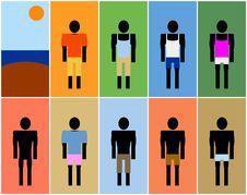 Set Of Beach Men Symbols (Afro) Royalty Free Stock Image