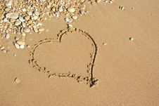 Heart On The Beach. Royalty Free Stock Photography