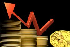 Free Business Graph And Gold Coin Stock Photography - 15366052