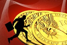 Free Gold Dollar And Business Man Stock Photography - 15366122