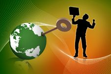 Free 3d Globe And Key With Business Man Royalty Free Stock Photo - 15366365