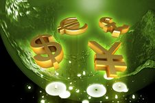 World And World Currency Stock Photo