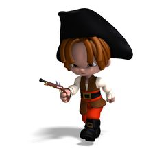 Free Sweet And Funny Cartoon Pirate With Hat Stock Photography - 15366992