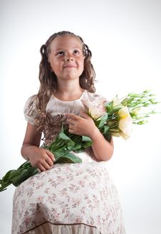 Free Little Girl With Flowers Stock Photo - 15368090