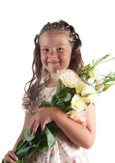 Free Smiling Little Girl With Flowers Stock Image - 15368101