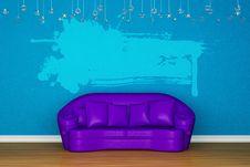 Free Alone Purple Sofa With Splash Banner Stock Image - 15368391