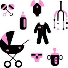 Free Baby Set Of Toys And Clothing Royalty Free Stock Photo - 15368415