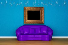 Free Alone Purple Sofa With Picture Frame Stock Images - 15368484