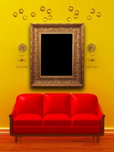Free Red Couch With Empty Frame And Sconces Royalty Free Stock Photo - 15368965