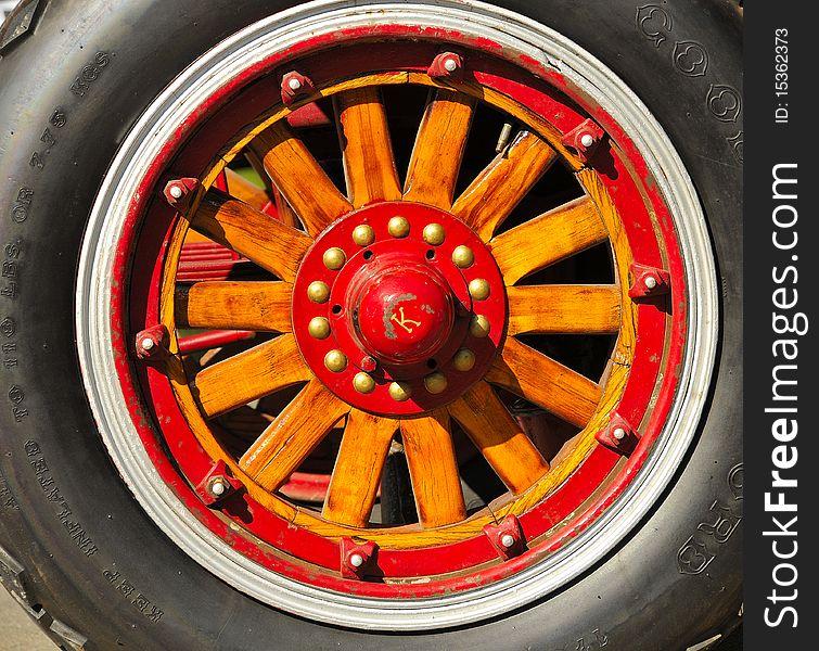 Vintage Fire Truck Wood Wheel