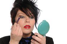 Free Young Girl Applying Make Up Royalty Free Stock Image - 15370986