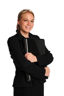Free Young Businesswoman Holding A Laptop Royalty Free Stock Photos - 15371288