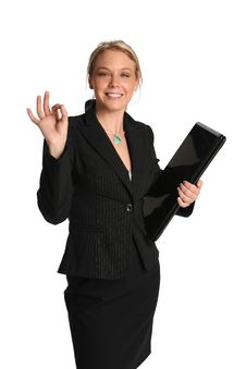 Free Young Businesswoman Holding A Laptop Stock Photo - 15371300