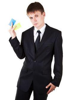 Free Business Man Demonstrate Credit Cards Stock Images - 15371684