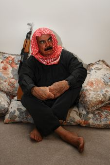 Free Moroccan  Militia Man With AK 47  At Home Royalty Free Stock Images - 15372239