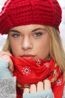 Free Teenage Girl Wearing Cap And Knitwear In Studio Stock Image - 15373301