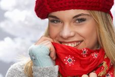 Free Teenage Girl Wearing Cap And Knitwear In Studio Royalty Free Stock Photos - 15373318