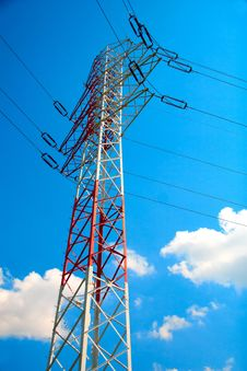 Red And White Electricity Pylon Royalty Free Stock Photo