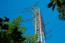 Free Red And White Electricity Pylon Stock Photography - 15373392