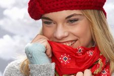 Free Teenage Girl Wearing Cap And Knitwear In Studio Stock Images - 15373394